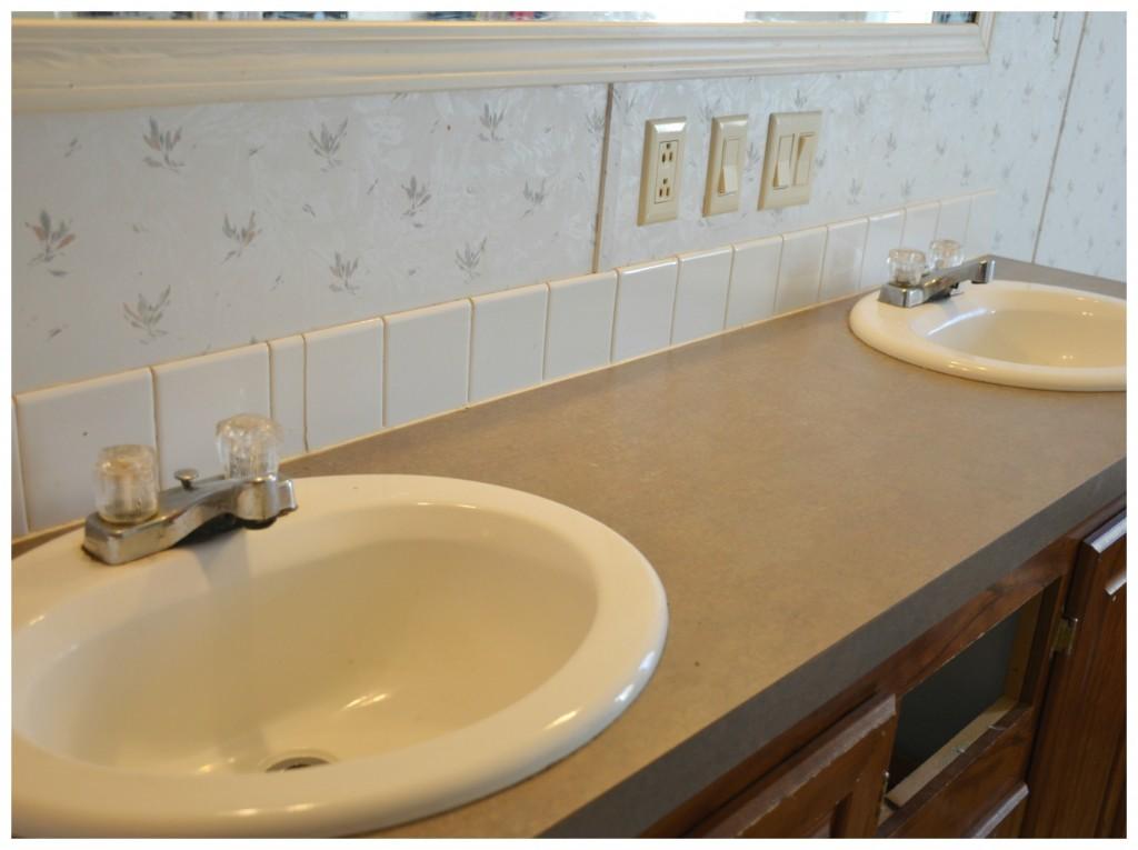 Clean bathroom counter